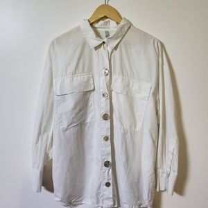 ZARA oversized white button down Abalone buttons